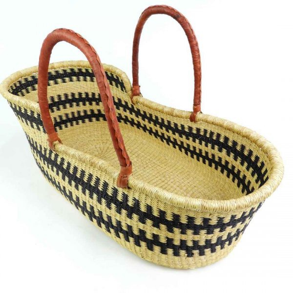 Lightweight and portable moses baby baskets, handmade from elephant grass in Ghana, West Africa.