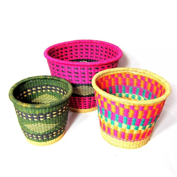 The Ashi is a handmade bucket-shaped basket, great for office and home use with patterns that will add a pop of colour to any setting.