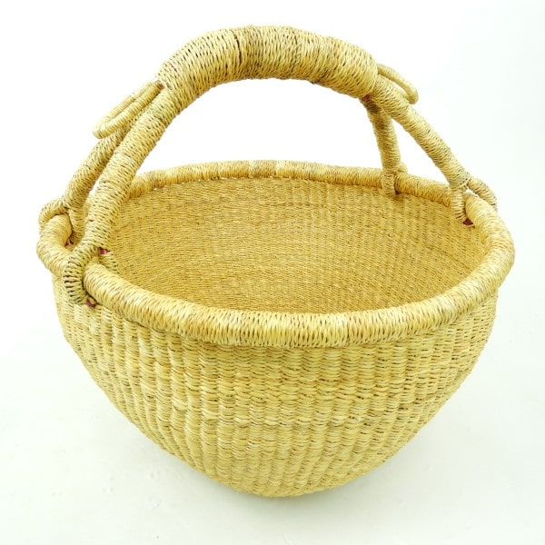 Vegan medium round natural bolga baskets. Handmade from elephant grass in Northern Ghana. Perfect for shopping or just sitting pretty.