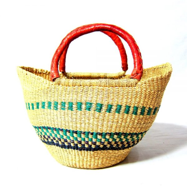 Cute mini version of the classic Shopper basket. Hand-woven from the elephant grass, durable leather handles: perfect for shopping, garden, around the home.