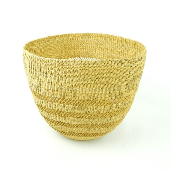 Beautiful hand-woven baskets from Bolgatanga, Northern Ghana. They make great wastepaper baskets for the office.