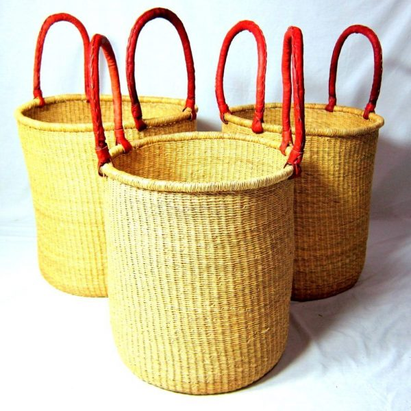 Our laundry baskets are hand-woven from the elephant grass which grows in Northern Ghana. These are one of our most popular items.