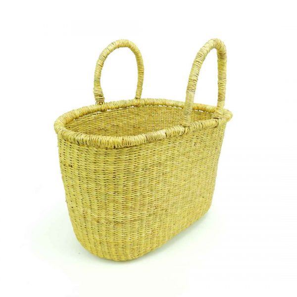 Our vegan natural oval baskets are hand-woven from the elephant grass which grows in the rich flood plains of Bolgatanga, Northern Ghana.