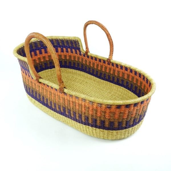 Sustainable and eco-friendly Moses baby baskets, handwoven in Ghana, West Africa.