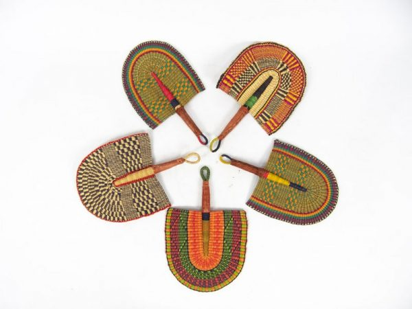 Bolga fans hand woven from Ghana's elephant grass. A selection of colours will be sent for orders of more than 5 fans.