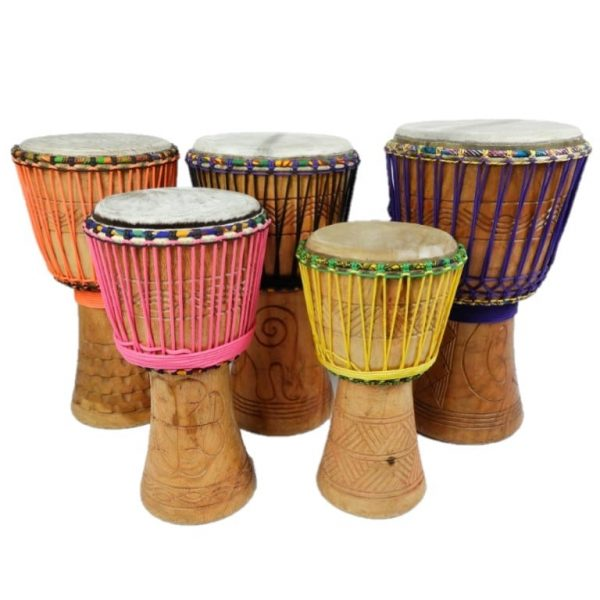 Ghana djembes by Bashiri African Imports. Quality musical instruments, these are sustainable and ethically sourced gifts for kids and adults.