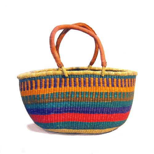Hand-woven from the elephant grass which grows in the rich flood plains of the White Volta near the village of Bolgatanga, Northern Ghana.