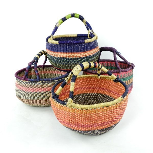 Large vegan-friendly baskets hand-woven from elephant grass in Northern Ghana. Perfect for shopping or just looking pretty.