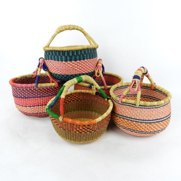 Vegan medium round baskets handwoven from Ghana's elephant grass. Perfect for shopping, or just sitting pretty.