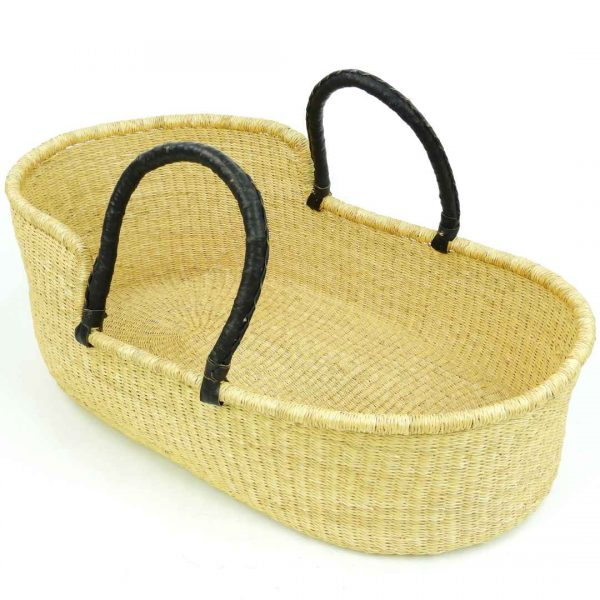 Our Moses baskets are handwoven by our talented team of artists in Ghana, West Africa. from durable, locally-sourced elephant grass.
