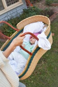 Soft and snuggly for baby, our Moses Baby Carry Baskets are hand-woven from Ghana's sustainable elephant grass.