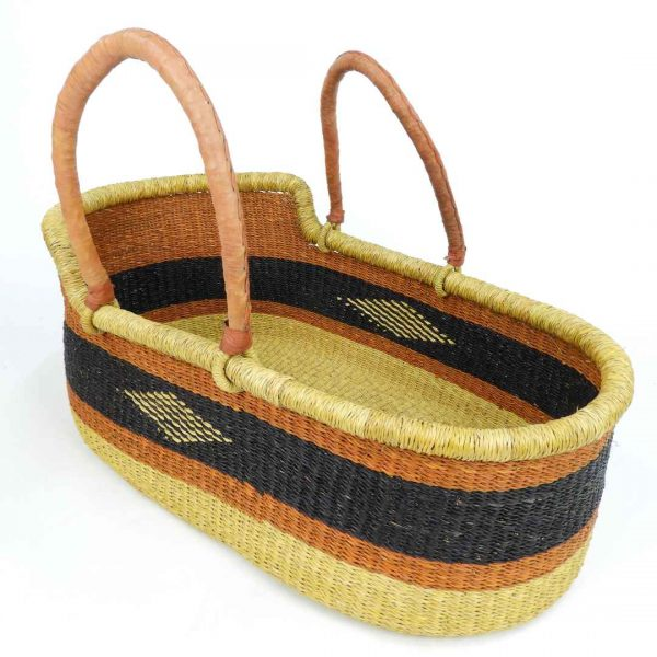 Each moses baby basket is handmade in Ghana by highly skilled artists, using local and sustainable elephant grass.