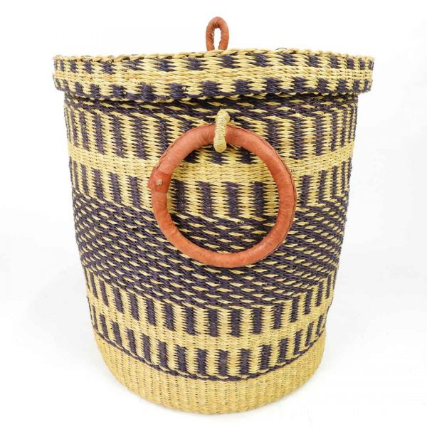 Closed laundry baskets handmade from elephant grass in Ghana, West Africa